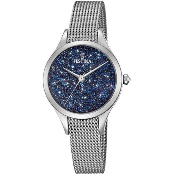 Ρολόι γυναικείο Festina Mademoiselle F20336-2 με μπρασελέ και μπλε καντράν  με κρύσταλλα Swarovski 41517888267