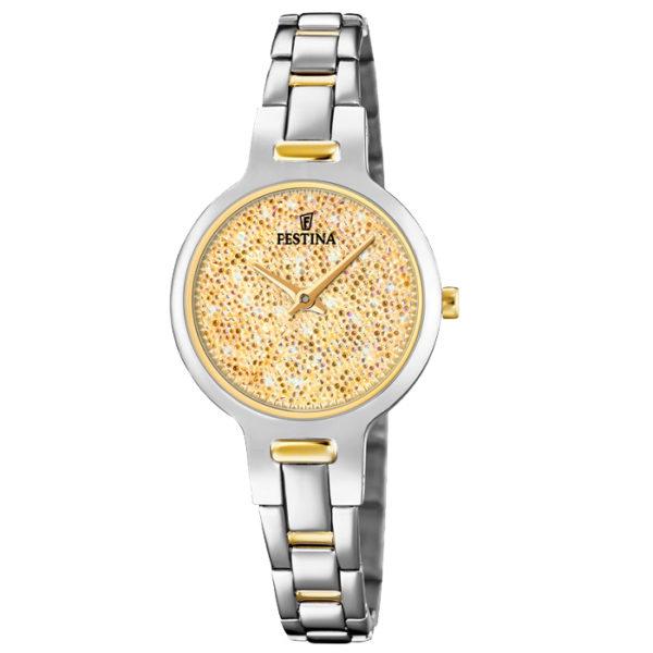 Ρολόι γυναικείο Festina Mademoiselle F20380-2 με δίχρωμο μπρασελέ και  κίτρινα κρύσταλλα Swarovski 295cd3cb61e