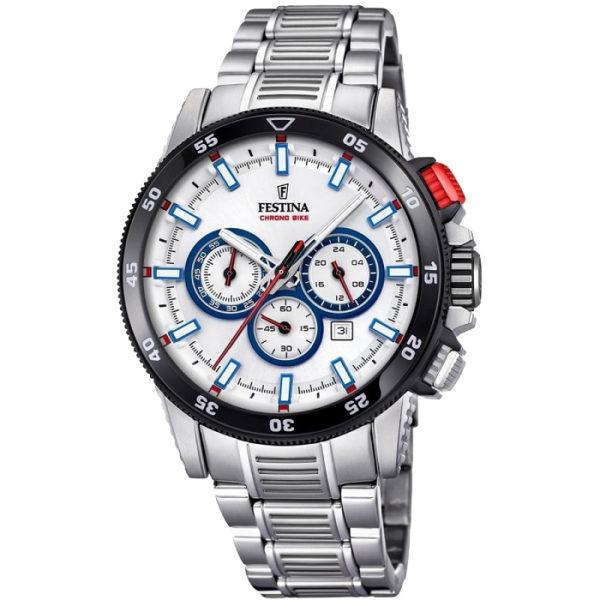 Ρολόι ανδρικό Festina Chrono Bike F20352-1 με μπρασελέ και ασημί καντράν 3fd88840820