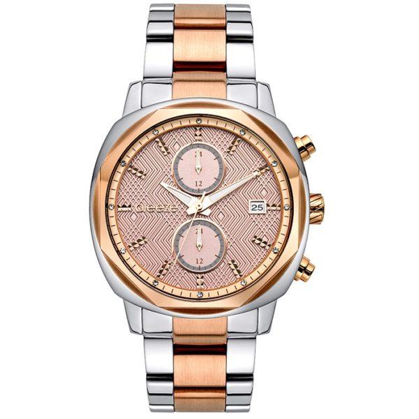 c8602506ac Ρολόι γυναικείο Breeze Divinity 710891.4 με δίχρωμο μπρασελέ και ροζ  ανάγλυφο καντράν