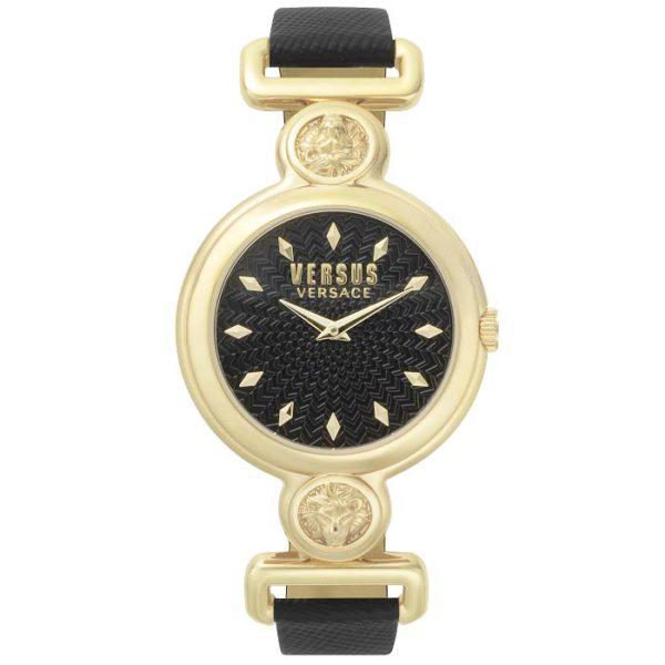 4a0ee6e127 Ρολόι γυναικείο Versus By Versace Sunnyridge VSPOL3118 με δερμάτινο λουρί  και μαύρο καντράν