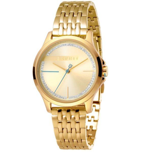 Ρολόι γυναικείο Esprit Joy ES1L028M0075 με μπρασελέ και κίτρινο χρυσό  καντράν cd7923b2e78