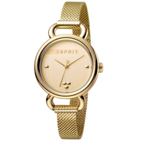 Ρολόι γυναικείο Esprit Play ES1L023M0055 με μπρασελέ και κίτρινο χρυσό  καντράν ef235f0b87d