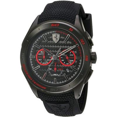 Ρολόι ανδρικό Ferrari Scuderia SF0830344 Chronograph με Rubber και μαύρο  καντράν dc8b49a35b6