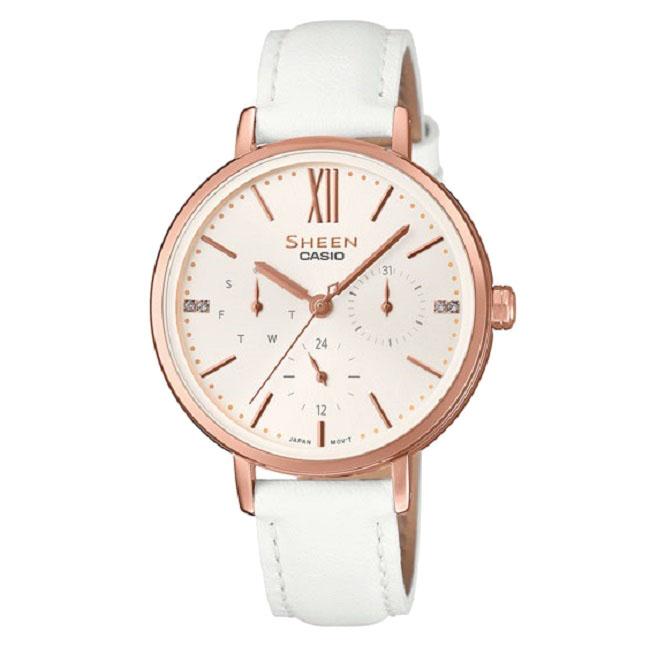 Ρολόι γυναικείο Casio Sheen SHE-3064PGL-7AUER με δερμάτινο λουρί και λευκό  καντράν c3dba3cea3b