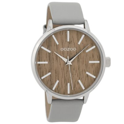 Ρολόι γυναικείο Oozoo Timepieces C9250 με δερμάτινο λουρί και καφέ καντράν  με ξύλινη απεικόνιση (Δρυς) 051b2ce61de