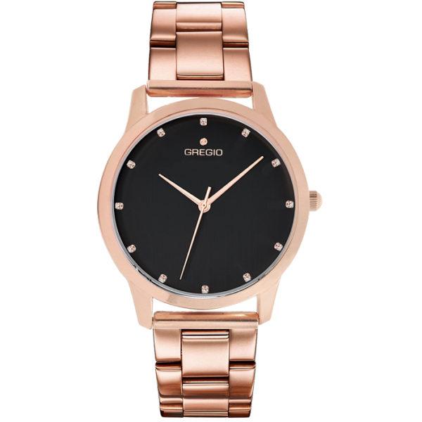 Ρολόι γυναικείο Gregio Nora GR123031 με μπρασελέ και μαύρο φιλντισένιο  καντράν e9352c18b71