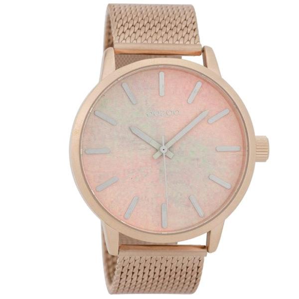 Ρολόι γυναικείο Oozoo Timepieces C9658 με μπρασελέ και δίχρωμο καντράν με  σχέδιο d21be966bad