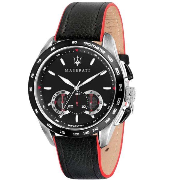 Ρολόι ανδρικό Maserati Traguardo R8871612028 Chronograph με δερμάτινο λουρί  και μαύρο καντράν 3f49c8a156d