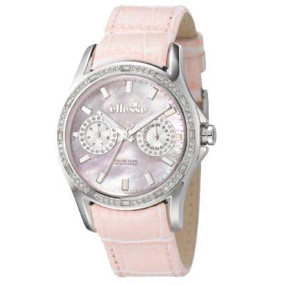 Ρολόι γυναικείο Ellesse Crystals 03-0459-504 με δερμάτινο λουρί και ροζ  φιλντισένιο καντράν 57b8ae44199