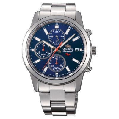 Ρολόι ανδρικό Orient Chronograph FKU00002D0 με μπρασελέ και μπλε καντράν d1ed06778b9