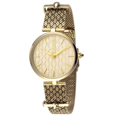 Ρολόι γυναικείο Just Cavalli Animal JC1L060M0065 με δίχρωμο ιδιαίτερο  μπρασελέ και κίτρινο χρυσό καντράν de408a5ad2c