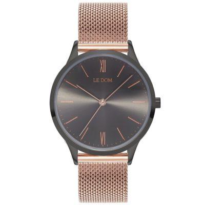 Ρολόι γυναικείο Le Dom Classic LD.1000-13 με μπρασελέ και ανθρακί μεταλλικό  καντράν d8ce7fb3773