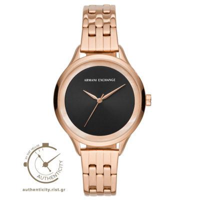 Ρολόι γυναικείο Armani Exchange AX5606 με μπρασελέ και μαύρο καντράν a4250a18072