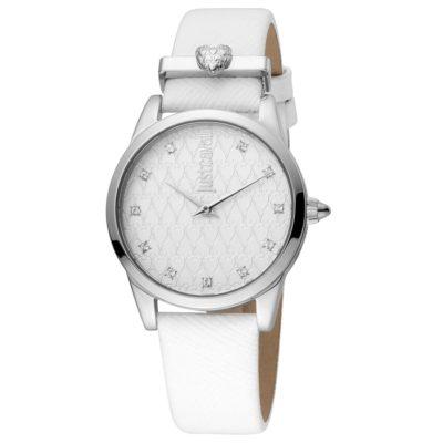 Ρολόι γυναικείο Just Cavalli Vales JC1L010L0515 με δερμάτινο λουρί και λευκό  ανάγλυφο καντράν f45666687ac