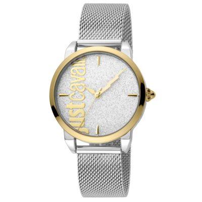 Ρολόι γυναικείο Just Cavalli Tenue JC1L079M0085 με μπρασελέ και ασημί  Glitter καντράν cfe2ba9423d