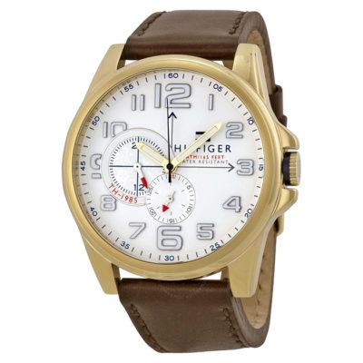 Ρολόι ανδρικό Tommy Hilfiger 1791003 με δερμάτινο λουρί και λευκό καντράν eeb1c5bb228